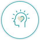 Heart in head icon
